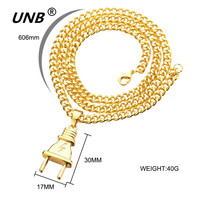 UNB 2017 New Gold-color Electrical Plug Shape Pendants Necklaces Men Women Hip Hop Charm Chains Iced Out Bling Jewelry Gifts 4