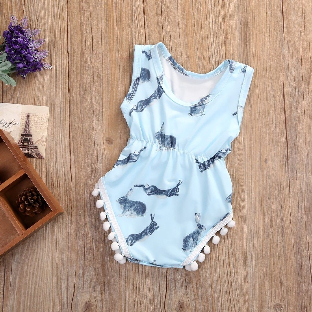 Sleeveless Baby Girls Summer Bunny Romper Jumper Jumpsuit Playsuit Clothes