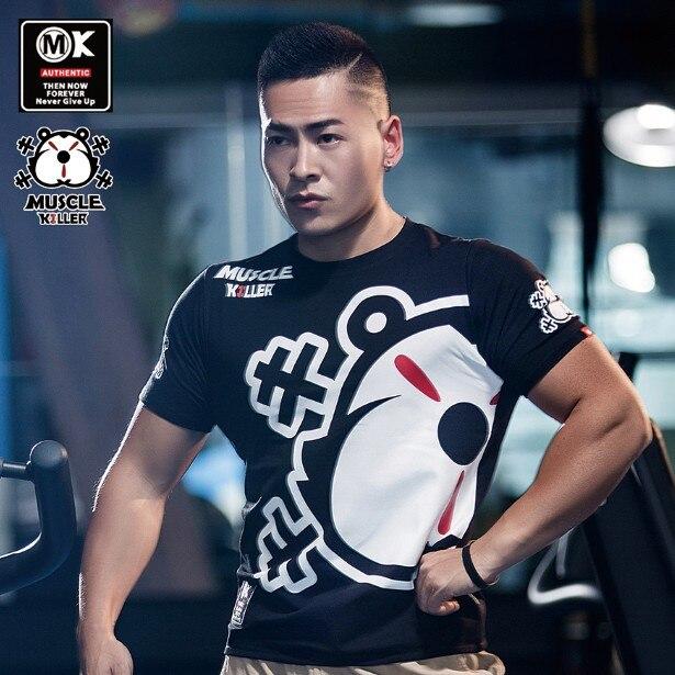 Muscle Killer Fitness Short Sleeve New Men Popular Logo Running Short Slim Stretch Training Half Sleeve