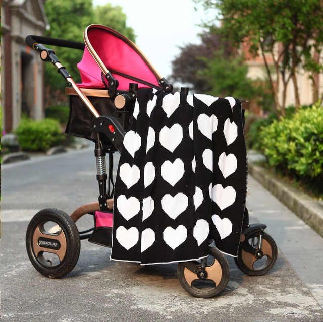 Fashion hot heart/clauds/Cross Blanket Knitted cotton blanket,baby stroller blanket,white blanket, size 90*110cm