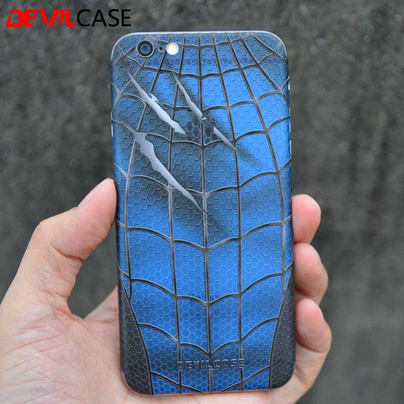 imágenes para DEVILCASE Para iPhone 6 Plus 3D Impresión de La Pata Trasera de Cuero Etiqueta Spiderman Marcas de Garras de Cuerpo Completo Volver Engomada de La Piel de Cuero 6 s Plus