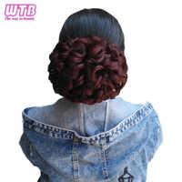 Chignons bouclés ondulés WTB pour femmes Chignon synthétique résistant à la chaleur avec élastique Extension de cheveux postiches beignet