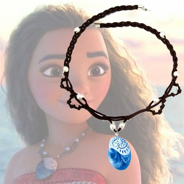 Cos Polynesia Princess Moana Necklaces Cosplay Costume Accessories Handmade Braided Leather Rope Necklace For Girl Gift Dropship