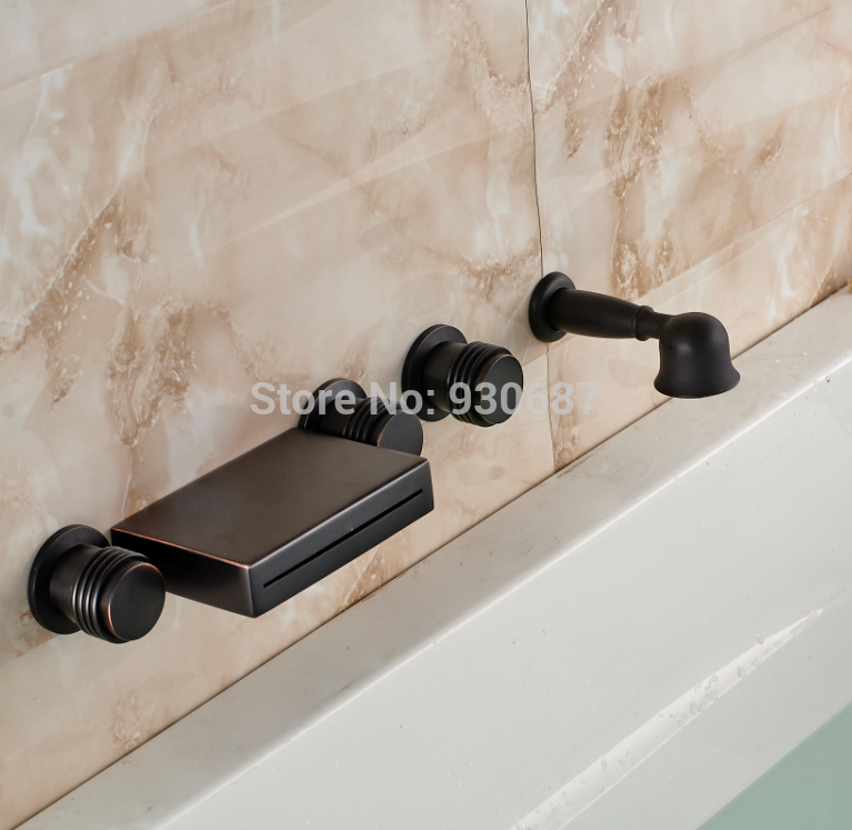 Oil Rubbed Bronze Bathtub Faucet Three Levers Waterfall Mixer Tap