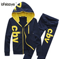 men's suit,High quality 2016 Spring and summer new men's hooded sweatshirt embroidered size:M-5XL Hoodies Set Men