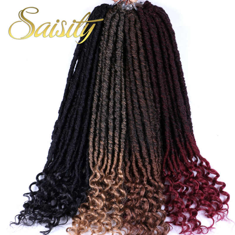 Saisity Faux Locs rizado Jumbo Dreads trenzas extensiones de cabello 20 pulgadas sintético suave Natural Loc cabello de ganchillo