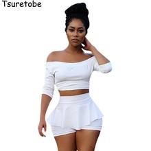 Tsuretobe New Fashion White Crop Top and Skirt Set Half Slee