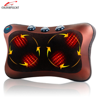 Colourfulcat Neck Massager Waist Back Leg Body Cervical Massage Pillow Electric Infrared Heating Shiatsu Spa Home