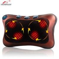 Colourfulcat Neck Massager Waist Back Leg Body Cervical Massage Pillow Electric Infrared Heating Shiatsu Spa Home