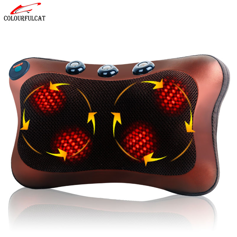 Colourfulcat Neck Massager Waist Back Leg Body Cervical Massage Pillow Electric Infrared Heating Shiatsu Spa Home/Car Cushion