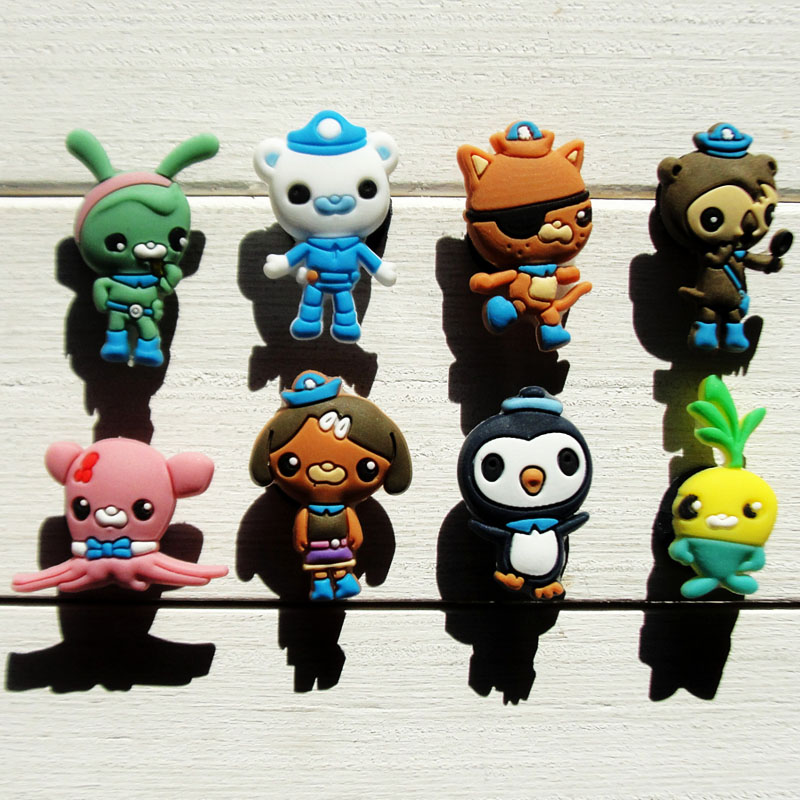 Christmas Gifts Lovely 8PCS  The Octonauts 8Styles PVC Shoe Charms Soft Shoe Accessories Fit Bands Wristbands Bracelets  Gifts