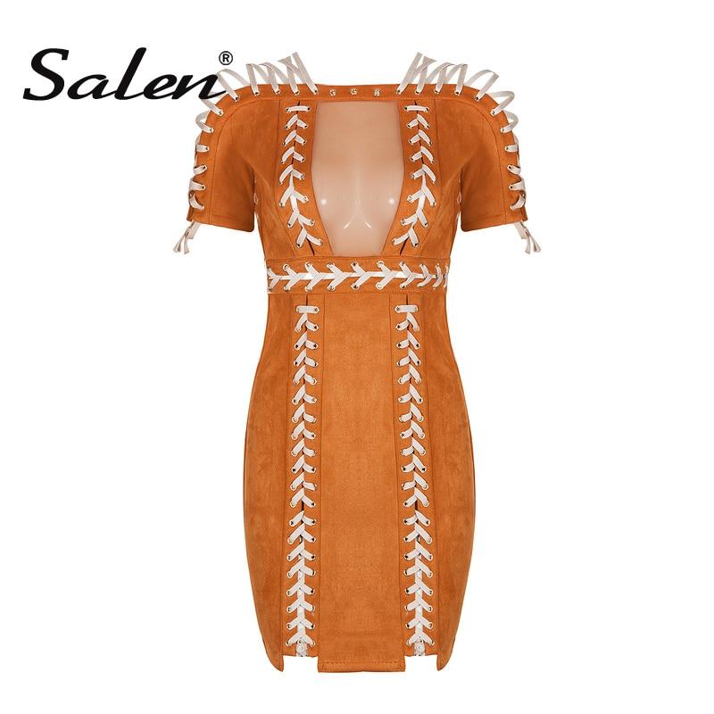 Salen Sexy Hollow Out Mini Summer Women Dress Slash Neck Solid Fashion Lady Dress Femme Vestidos 2017 New Arrival