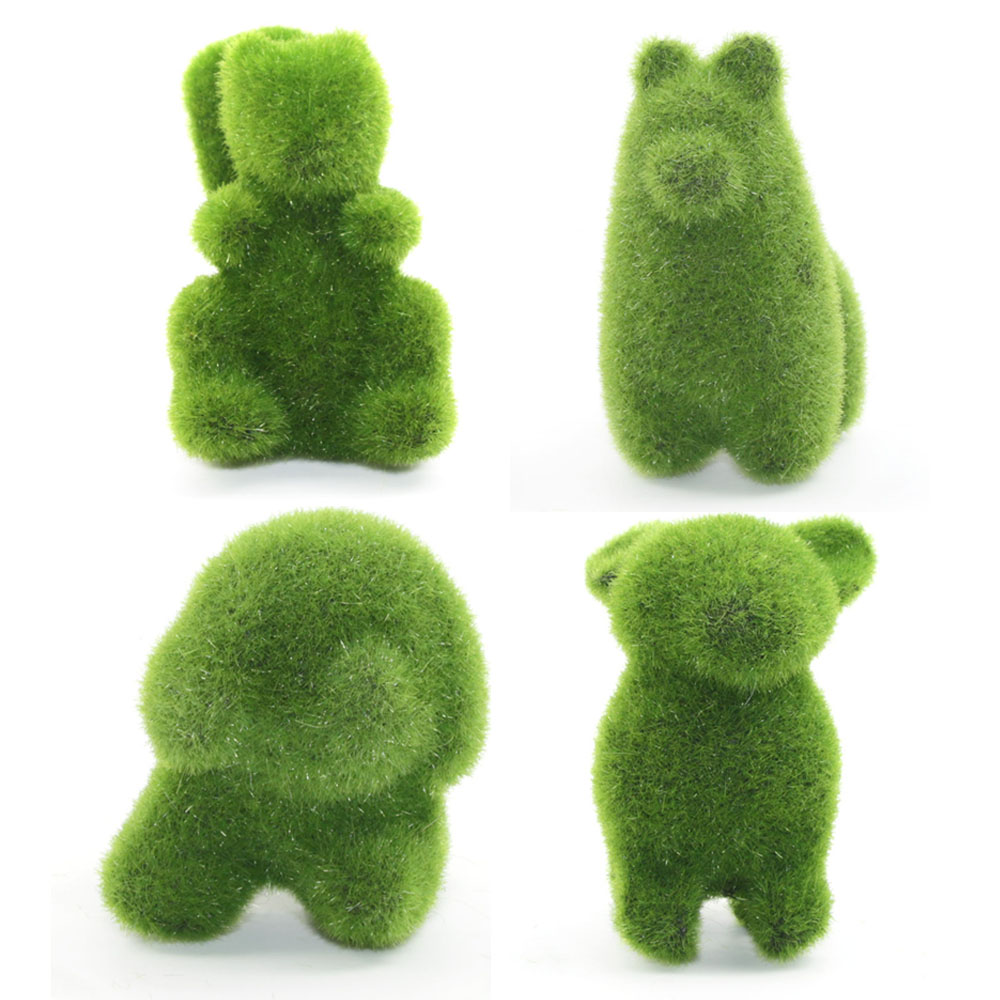 1 Set Simulatie Plantaardige Groene Mini Potplanten Klein Dier Bonsai Tafel-top Decoratie Kantoor Grassen Konijn Eekhoorn Bonsai Goede Warmteconservering