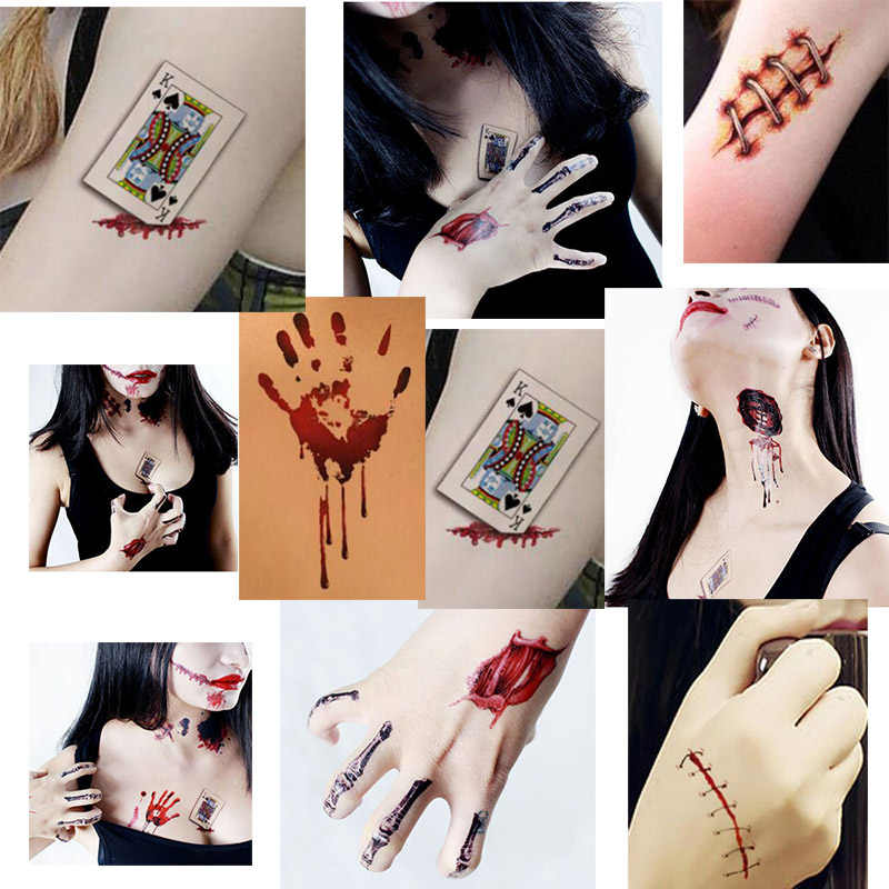 8eb8b7cca2557 ... 8 Sheet Halloween Festival Tattoo Sticker Luminous Waterproof Transfer  Wound Blood Pumpkin Skull Temporary Face Tattoo ...