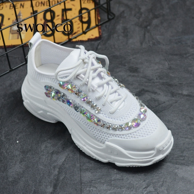 SWONCO Women s Vulcanize Shoes Fashion Crystal Thick Sole Gril Sneakers Women  Shoe Flat Platform White Shoes Fashion Woman Shoe cfc71a5cae82