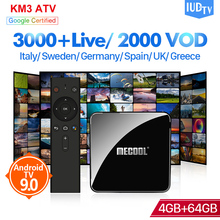 IPTV Spain Sweden Italy IPTV Subscription KM3 Android 9.0 Box S905X2 4G 64G IUDTV 1 Year IPTV Code Germany UK IP TV Turkey IP TV цена и фото