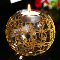 Transparent Glass Tealight Holder With Gold Knot Christmas Glass Holder Wedding Candlestick Table Centerpiece Home Decoration