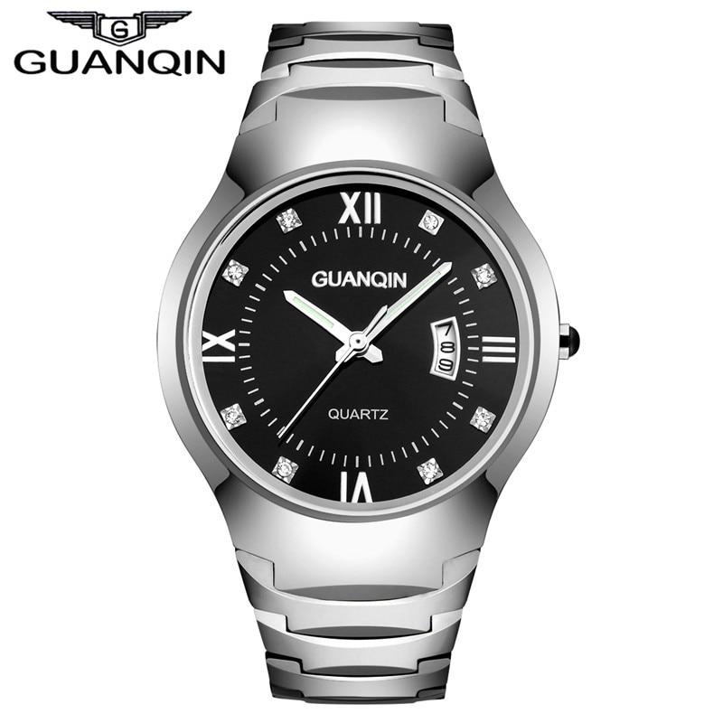 Tops Luxury Brand GUANQIN Quartz Watch Men Waterproof Luminous Sapphire Men Dress Watches Tungsten Steel Wrist Quartz Watch Men цена и фото