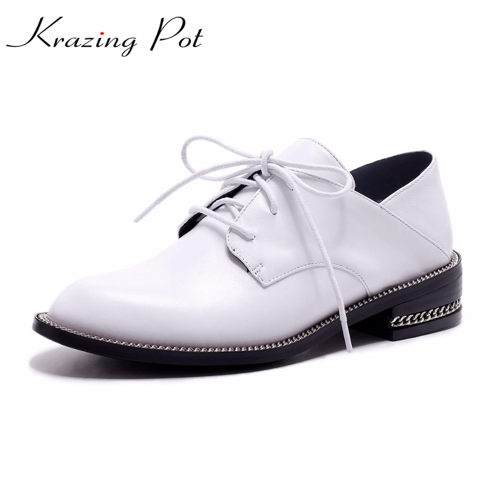Krazing Pot 2018 brand shoes genuine leather thick med heels shoes woman winter autumn pumps round toe lazy lace up shoes L68 krazing pot genuine leather original design thick med heels shallow women nude concise pumps pointed toe solid brand shoes l11