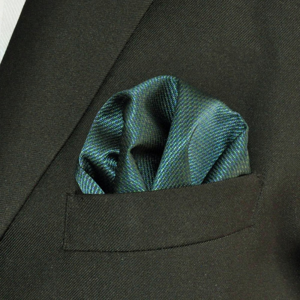 YH28 Pocket Square Solid Turquoise Silk Handkerchief For Men
