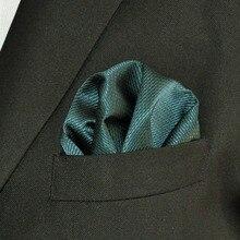 YH28 Turquoise Solid Silk Classic Jacquard Woven Fashion Handkerchief