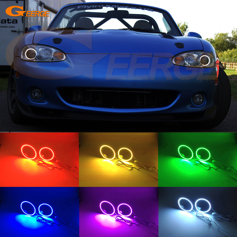 For MAZDA MX-5 MIATA 2001 2002 2003 2004 2005 Excellent Angel Eyes Multi-Color Ultra bright RGB LED Angel Eyes kit halo rings free shipping vland factory for is200 is300 led headlights 2001 2202 2003 2004 2005 angel eyes plug and play