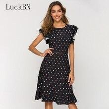 New Sexy Waist Hollow Out Women Dress 2019 Newest O-neck Dot Point Dresses Summer Womens Clothing Slim Fashion Sundress
