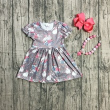 Girl Summer Bunny Easter Peasant Dress