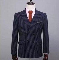 Blu di lana personalizzata, blu doppio petto, bianco a righe giacca, pantaloni, vestiti, Nina immagini (coat + pants + vest), il migliore per