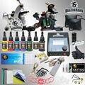 Kit profesional Del Tatuaje 7 colores de Tinta fuente de Alimentación 2 Ametralladoras HW-1SMT
