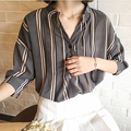 Striped Summer Work Women Tops Blouses 2016 Half Sleeve Casual Loose Shirt Blusas Femininas Plus Size Blue Shirt