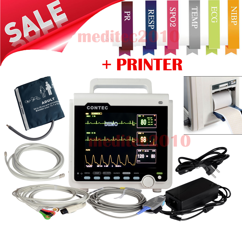 CONTEC ICU/CCU Patient Monitor 3-parameter,Electronics+NIBP+Pulse Rate+SPO2 Medical Holter Machine CMS6000+built-in printer abpm50 ce fda approved 24 hours patient monitor ambulatory automatic blood pressure nibp holter with usb cable