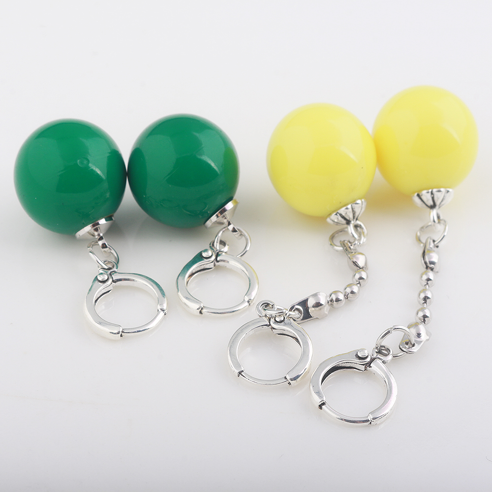 SG Dragon Ball Z Potara Cosplay Charm Earrings Yellow And Green Round Eardrop Earrings Jewelry For Women Girls Lovely Gift