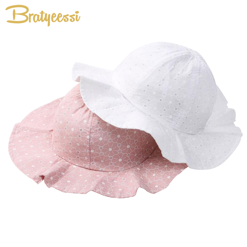 Fashion Baby Sun Hat Summer Cotton Bucket Hat Baby Beach Kids Girls Cap With Wide Brim Pink/White 1 PC ...
