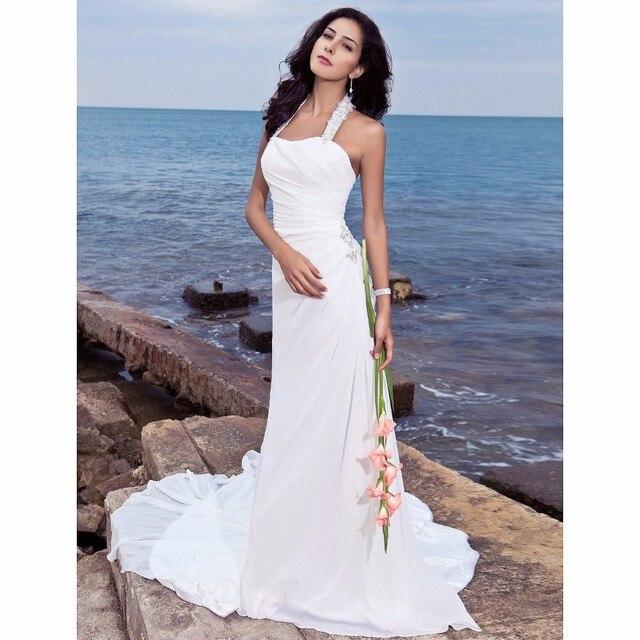 Lan Ting Bride Sheath Column Wedding Dress Sleeveless Halter Court