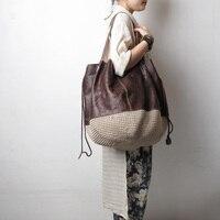 size 49*cm shipping genuine leather women's handbag fluid line handmade crochet bag woven bag one shoulder handbag size46*46*48