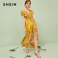 SHEIN Floral Print Ruffle Trim Wrap Knotted Dress Women Summer Dress 2019 High Waist Boho Belted Ginger V Neck Dresses