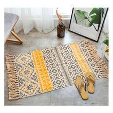 Patrón geométrico alfombra Vintage sofá Sala dormitorio área alfombra algodón borlas hilo teñido decoración del hogar alfombra de estilo antiguo
