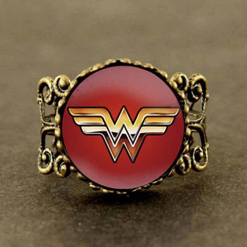 Wonder Woman glass ring Wonder Woman super hero women men jewelry hot selling