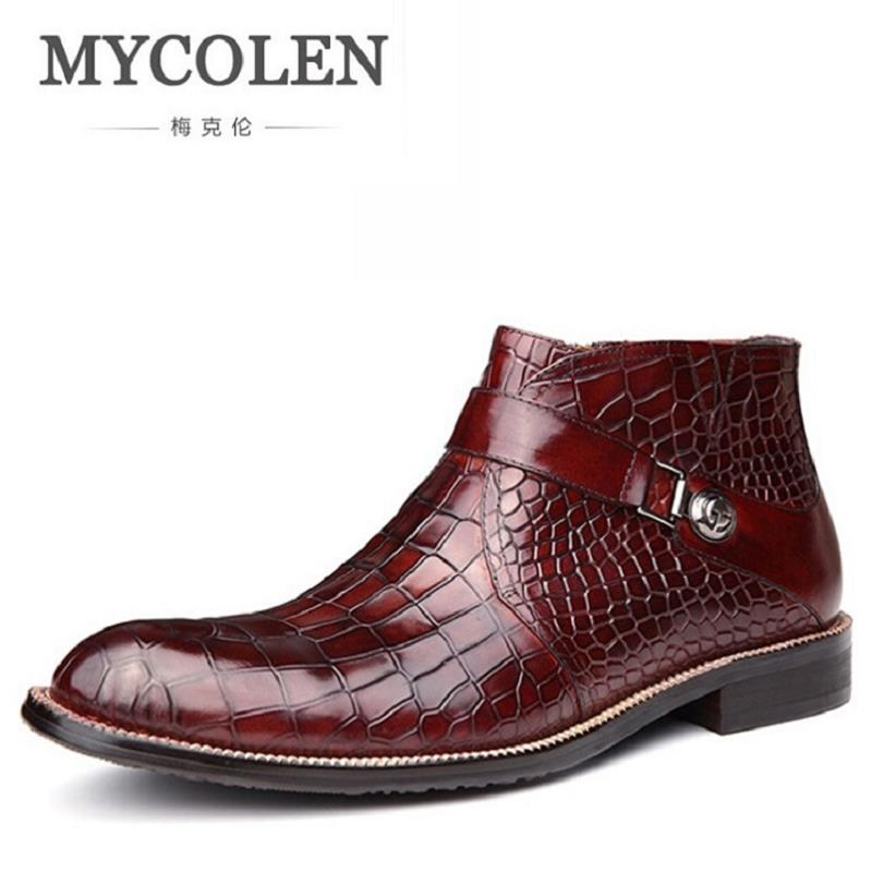 MYCOLEN Men Shoes 2017 Top Fashion New Winter Casual Ankle Boots Stone Pattern Leather Shoes Men Buckle Footwear Erkek Bot lozoga new men shoes fashion boots ankle 100