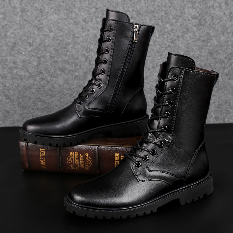 2019 winter men 39 s boots tactical military genuine leather boot plus size 35 50 black shoes man work snow shoe army boots for men in Work amp Safety Boots from Shoes