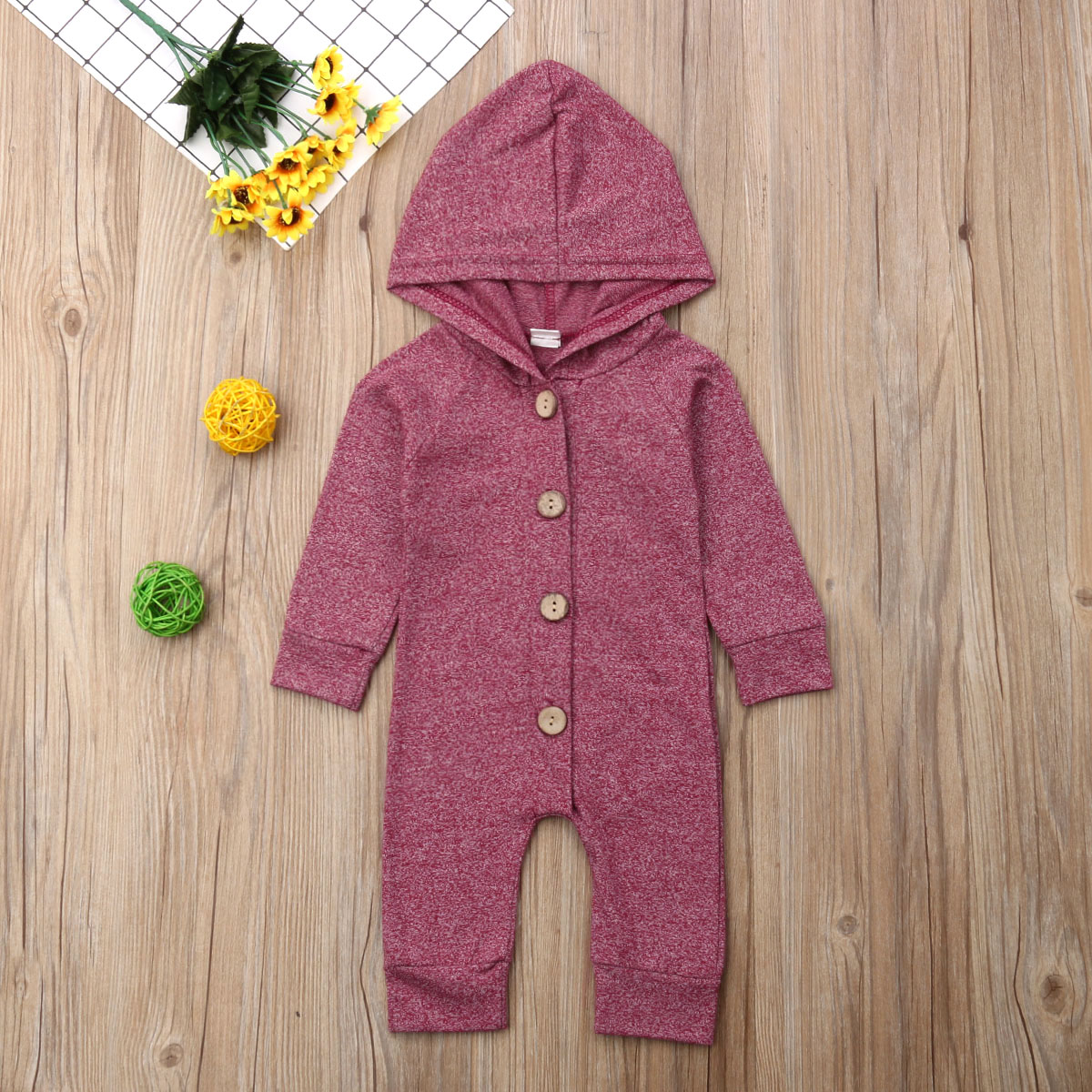 HTB1ZjQHMNTpK1RjSZR0q6zEwXXam 2019 Children Spring Autumn Clothing Baby Kids Boys Girls Infant Hooded Solid Romper Jumpsuit Long Sleeve Clothes Outfits 0-24M