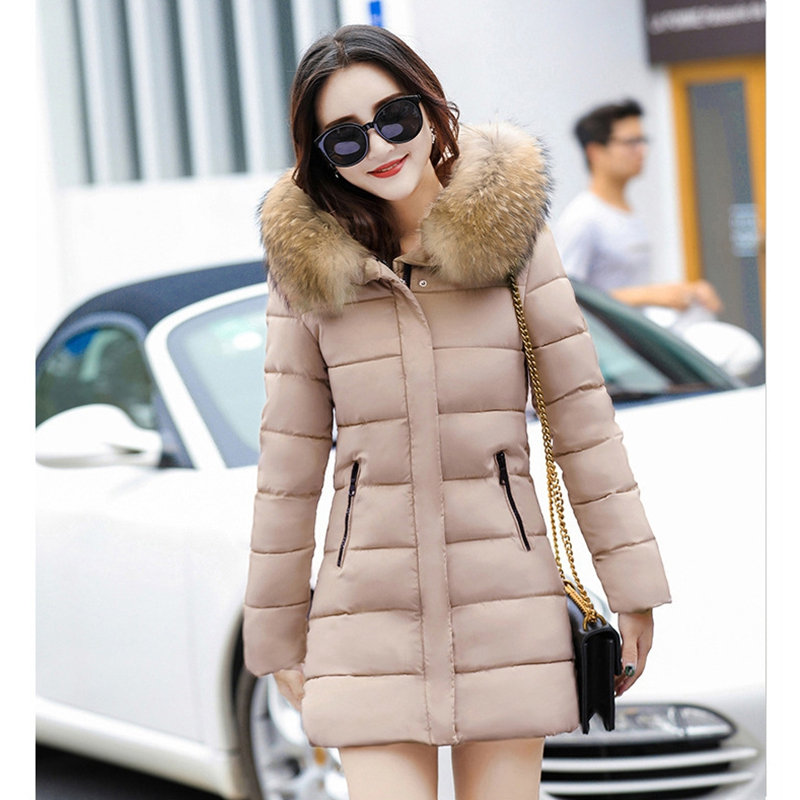 2017 NEW HOT SALE WOMEN WINTER JACKER MEDIUM LENGTH LARGE FUR COLLOR THICKEN WARM FEMALE PARKAS COTTON WADDED COAT ZL466