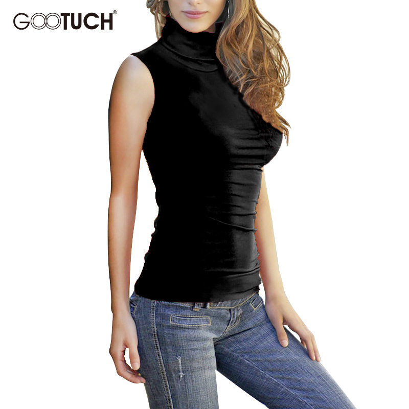 46de9116cba 2018 Summer Women Cotton Mock Neck Top Turtleneck Sleeveless T shirt  Bodycon High Collar Vest Female Plus Size Tee Shirts G 2560-in T-Shirts  from Women s ...