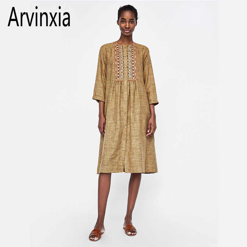 Arvinxia ZA Casual Embroidery Boho Loose Women Dress Comfortable Bohemian Buttons Decorated Woman Long Midi New Arrival Dress