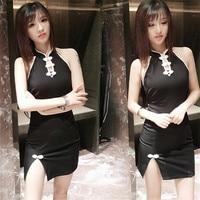 Verano sexy vestido mujeres moda Tokio backless cheongsam Delgado negro vestidos para fresco niñas partido Club estilo japonés Corea