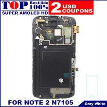 Sensor LCD reemplazo para Samsung Galaxy Note2 Nota II N7105 AMOLED  pantalla LCD táctil digitalizador Asamblea con marco aae1832e94