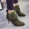 AVVVXBW 2016 Winter Women Short Boots Pointed Toe High Heels Suede Ankle Boots Fashion Temperament Side Zippers Rabbit Fur Shoes