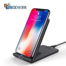 TIEGEM 10W Qi 무선 충전기 아이폰 8 8 플러스 X 빠른 무선 충전 USB 충전기 삼성 갤럭시 S9 S9 + S8 S8 + S7 가장자리에 대 한