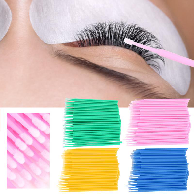 100PCS Microbrushes Disposable Cotton Stick Cleaning Cotton Swabs Tattoo Eyelash Extension Individual Lash Removing Cotton Swabs